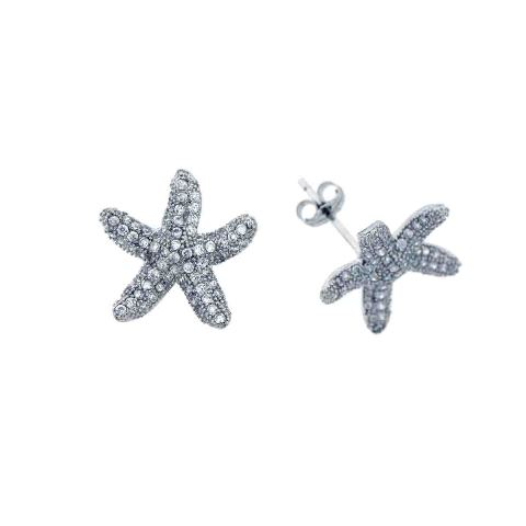 925 - Sterling - Starfish Medium Wide CZ Stud Earrings