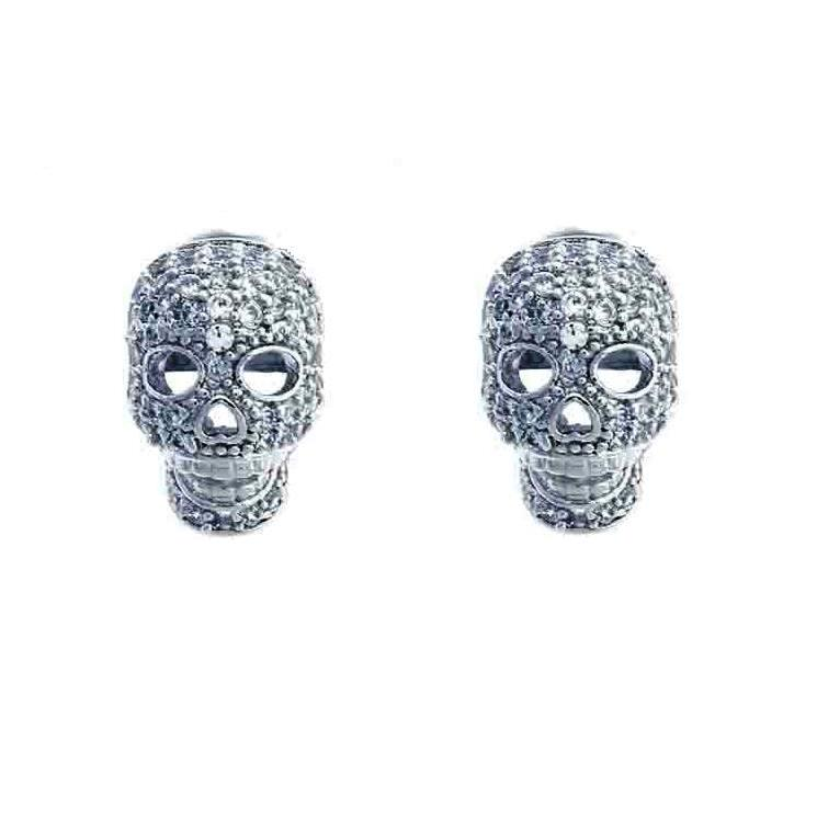 925 - Sterling - Skull CZ Stud Earrings