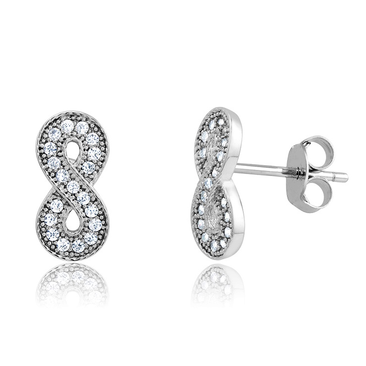 925 - Sterling - Infinity Design Stud Earrings