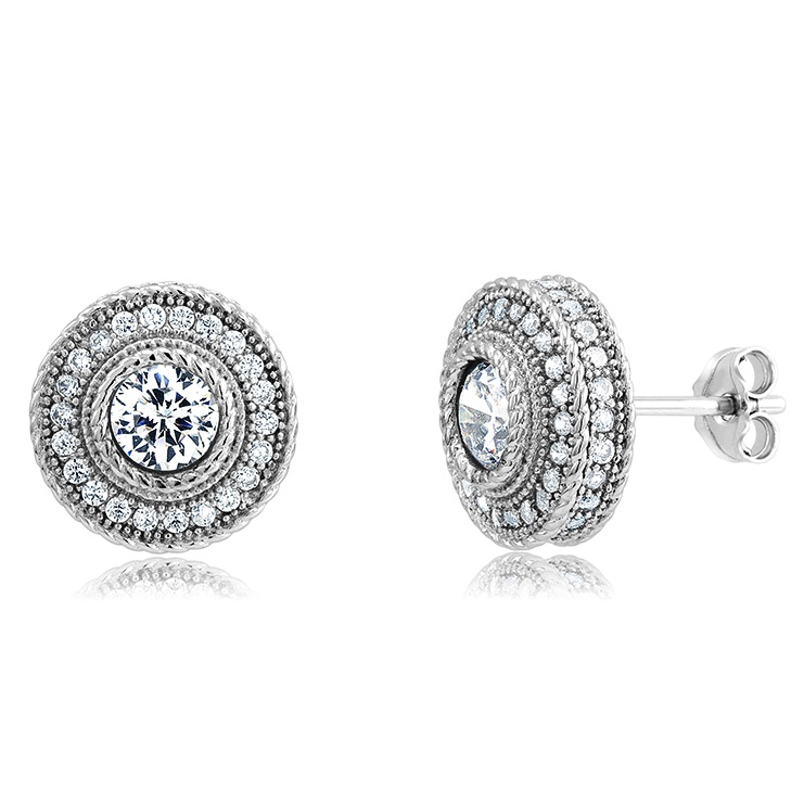 925 - Sterling - Round Micro-Pave 5 mm CZ Stud Earrings