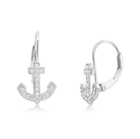 925 - Sterling - Anchor Small Lever Back Earrings