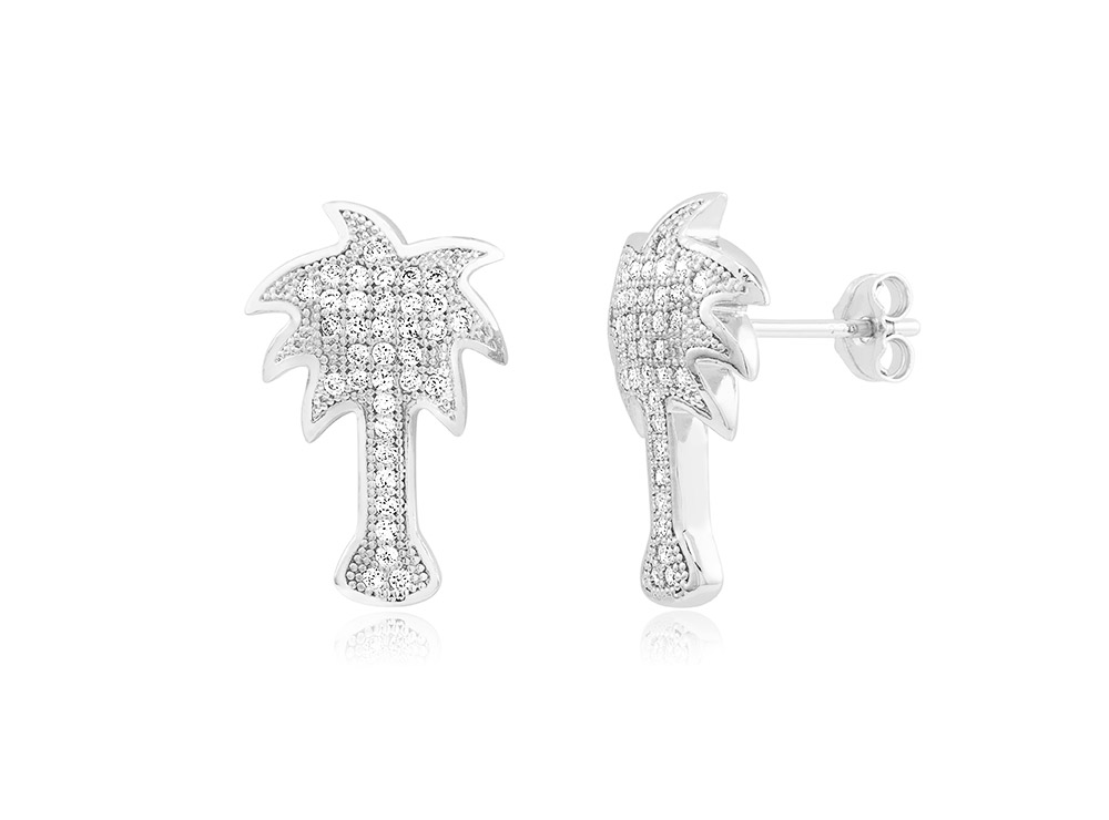 925 - Sterling - Palm Tree Micro Pave CZ Stud Earrings