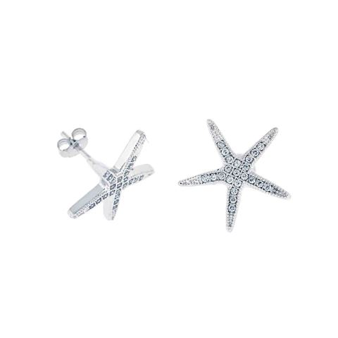 925 - Sterling - Starfish Small CZ Stud Earrings