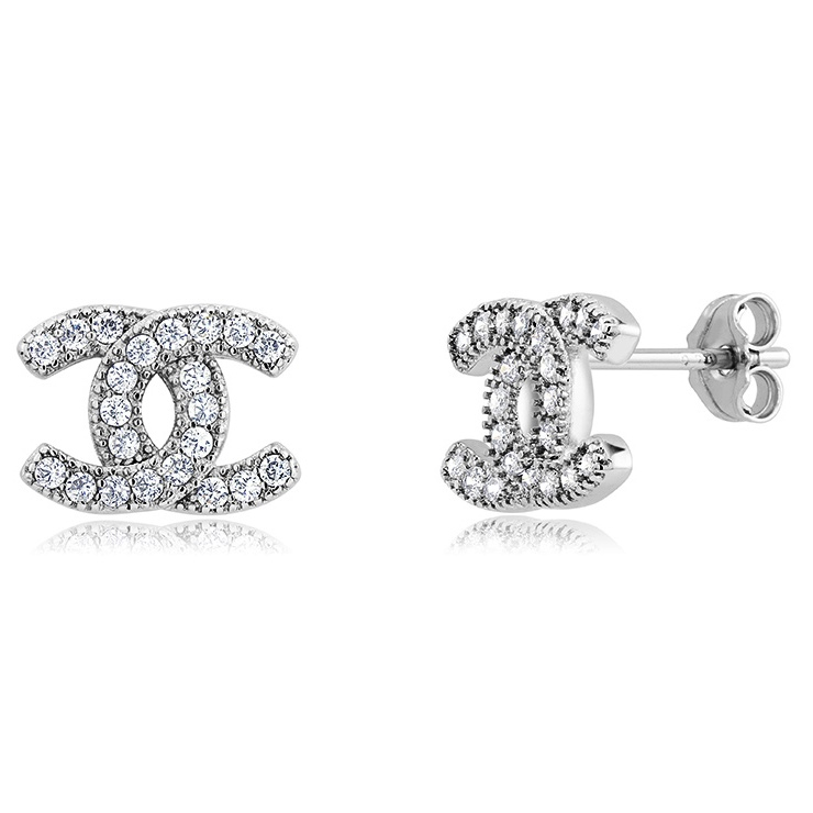 Locking C's Micro Pave Clear CZ Stud Earrings