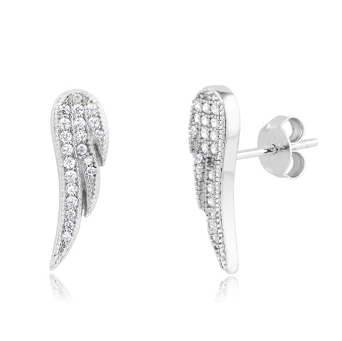 925 - Sterling - Wing Micro Pave Earrings