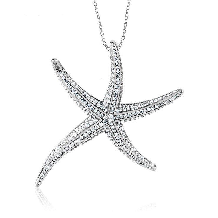 925 - Sterling - Starfish CZ Large Pendant