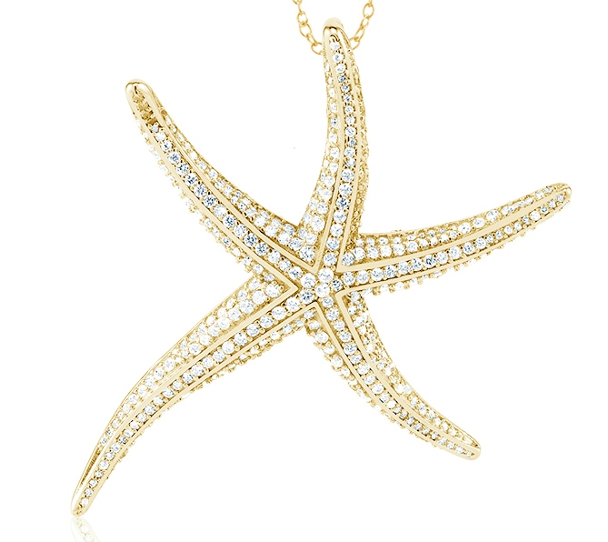 925 - Sterling - Starfish CZ Gold Large Pendant
