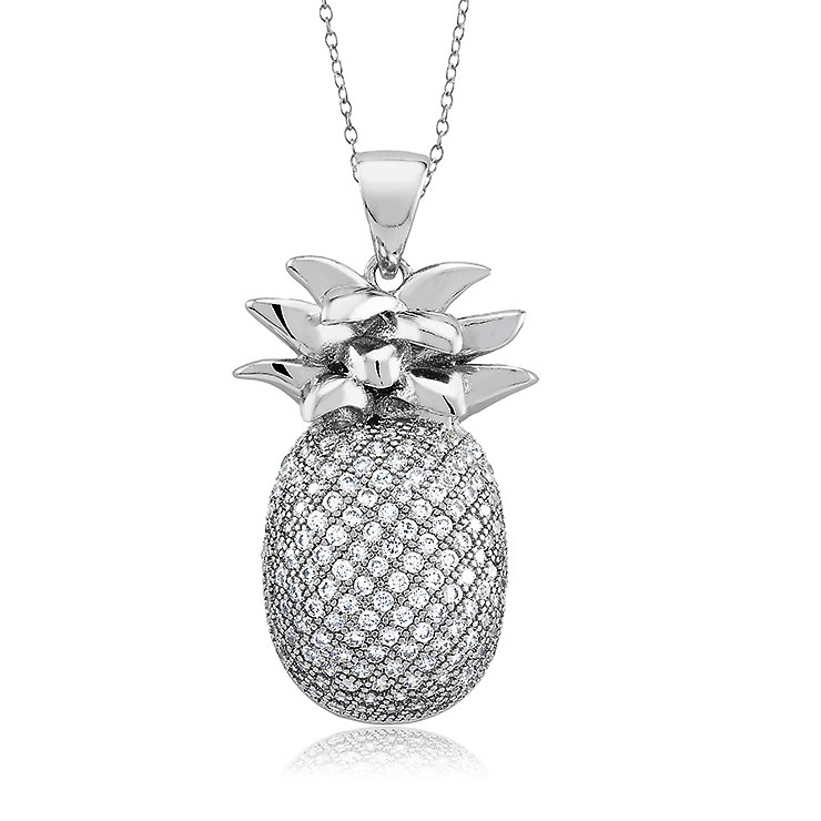 925 - Sterling - Pinapple Shaped Clear Large CZ Pendant