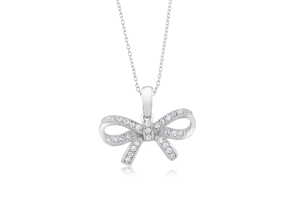 925 - Sterling - Ribbon Micropave Small Pendant