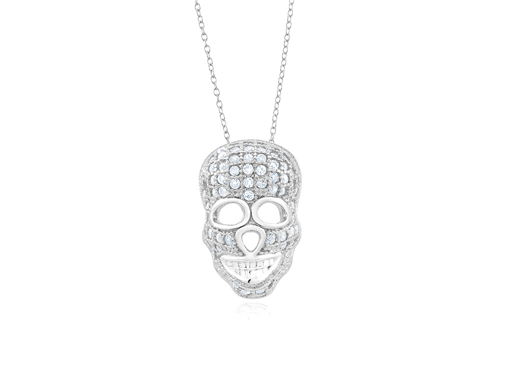925 - Sterling - Skull Micropave Medium 15mm CZ Pendant