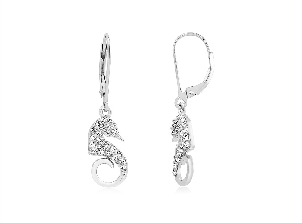 925 - Sterling - Sea Horse Small Clear CZ Lever Earrings