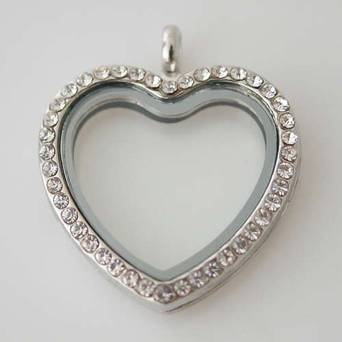 Large Fashion Locket Heart - 30mm Rhinestone & Silver