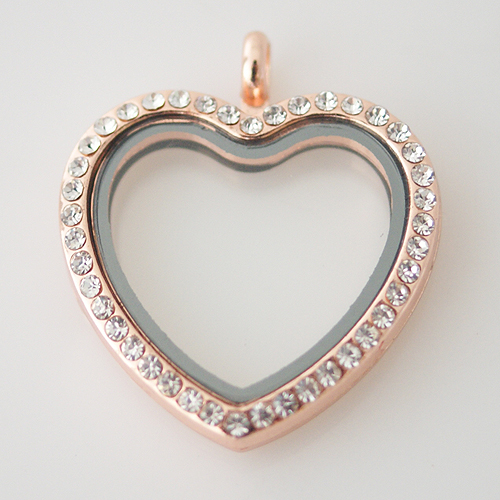 Large Fashion Locket Heart - 30mm Rhinestone & Rose Gold