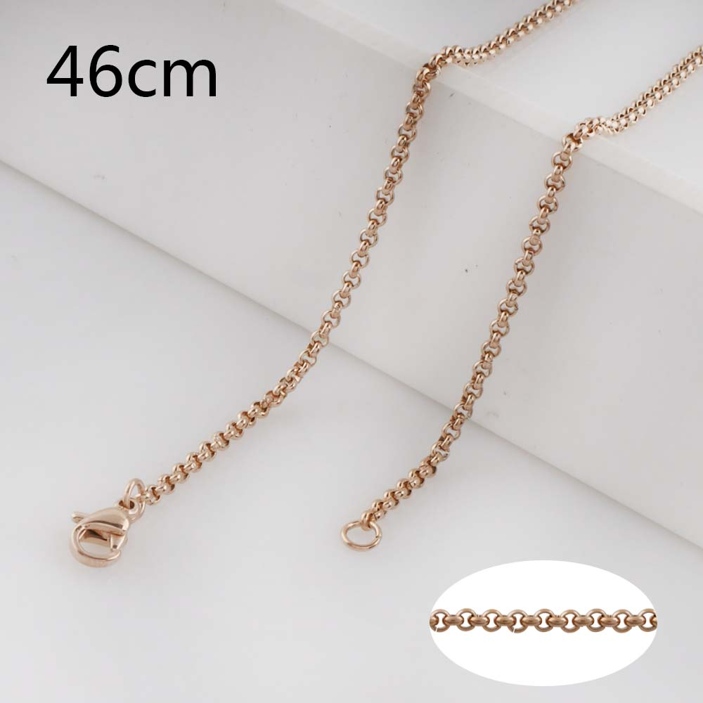 Stainless Steel Rolo Chain Rose Gold Tone - 18 inches