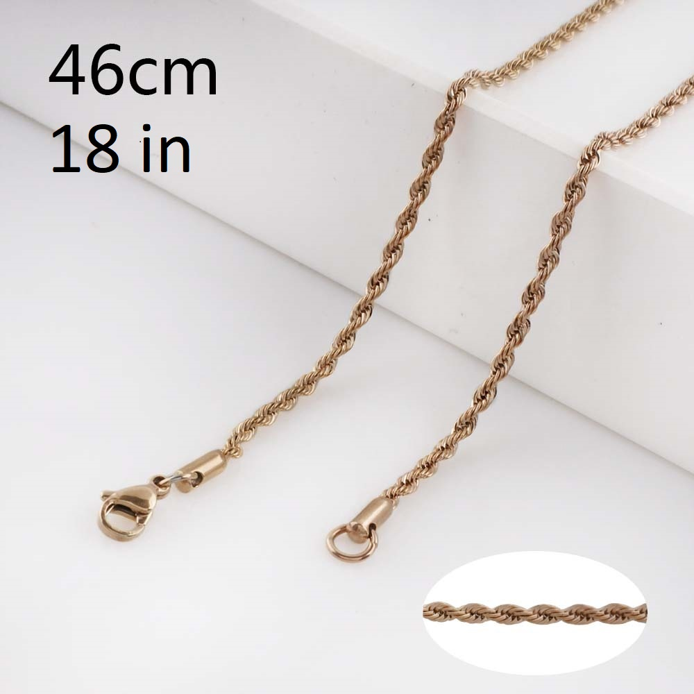 Stainless Steel Rope Chain Rose Gold Tone - 18 inches