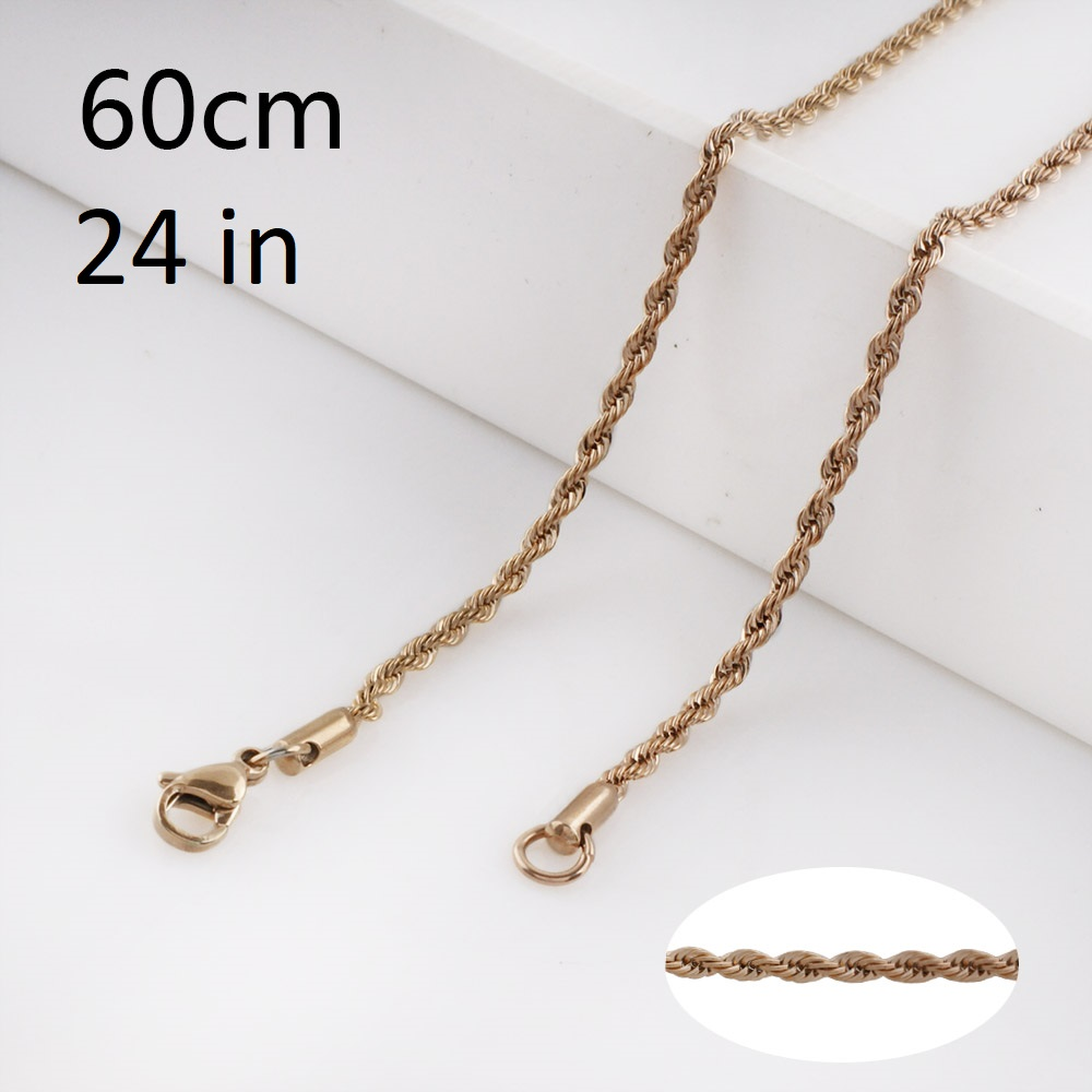 Stainless Steel Rope Chain Rose Gold Tone - 24 inches