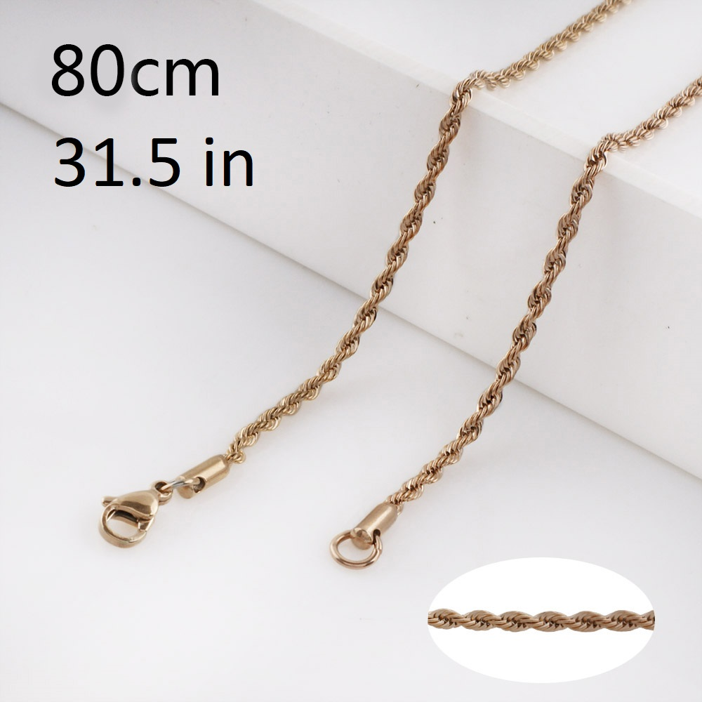 Stainless Steel Rope Chain Rose Gold Tone - 31.5 in