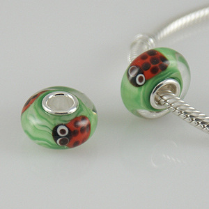 925 Glass Beads Lady Bug