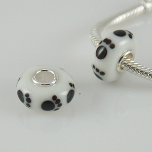 925 Glass Beads Paw Prints - White & Black