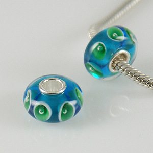 925 Glass Beads - Bubble Flower Teal & Green