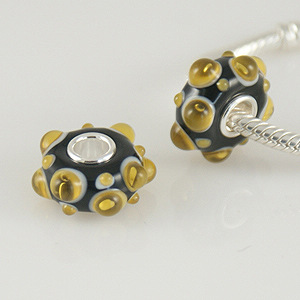925 Glass Bead - Raised Bump - Black & Gold