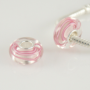 925 Glass Beads - Swirls - Clear & Pink