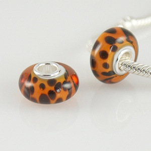 925 Glass Beads - Spots - Brown