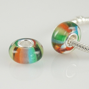 925 Glass Beads - Stripes - Rainbow