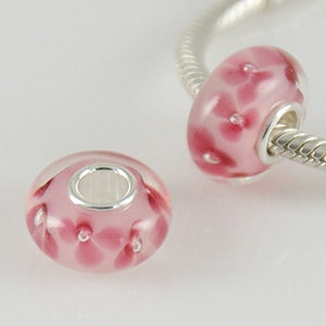 925 Glass Beads - Bubble Flower - Light Pink & Pink