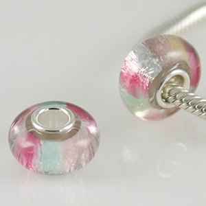 925 Glass Beads - Dichroic Stripes - Multi Color Pastel