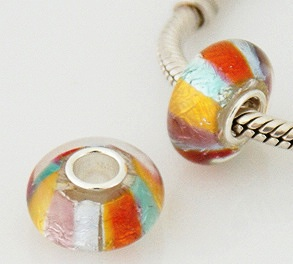 925 Glass Beads - Dichroic Stripes - Multi Color