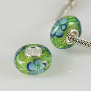 925 Glass Beads - Flower - Lime & Light Blue