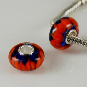 925 Glass Beads - Blue & Red