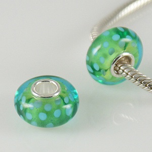 925 Glass Beads - Spots - Lime & Light Blue