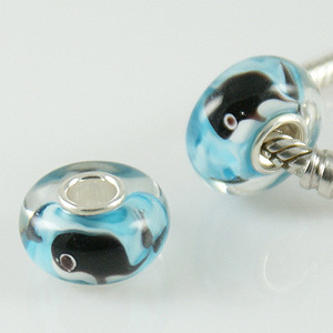 925 Glass Beads Whale - Blue