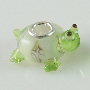 925 Glass Beads Turtle - Green & Clear