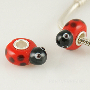 925 Glass Beads Lady Bug Shape