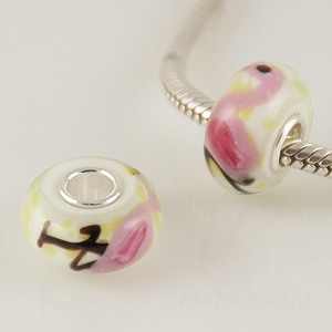 925 Glass Theme Bead - Flamingo