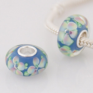 925 Glass Beads - Flower - Light Blue, Pink, Lime & White