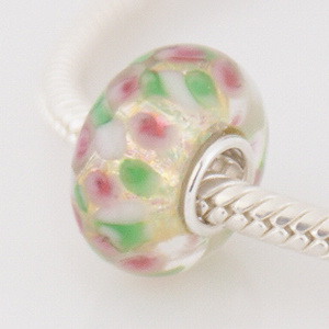 925 Glass Beads - Dichroic - Gold, Pink & Green