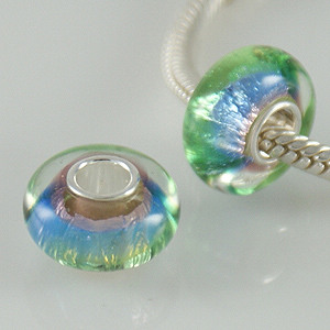 925 Glass Beads - Dichroic - Blue, Lavender & Green Lime