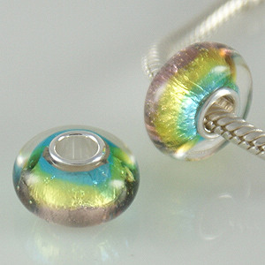 925 Glass Beads - Dichroic - Lime, Blue & Lavender Purple