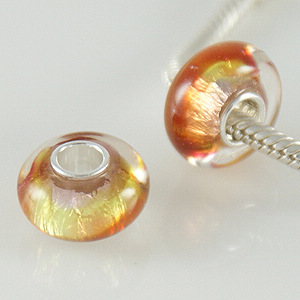 925 Glass Beads - Dichroic - Gold, Red & Pink