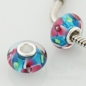 925 Glass Beads - Dichroic Bubble Flower - Teal & Pink