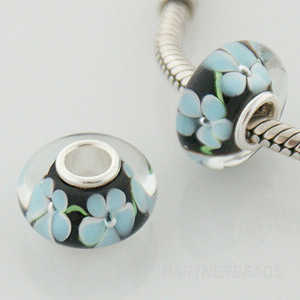 925 Glass Beads - Bubble Flower - Teal, Green & Black