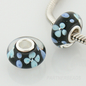 925 Glass Beads - Bubble Flower - Teal & Black