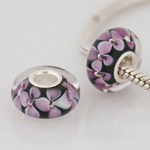925 Glass Beads - Bubble Flower - Black & Pink