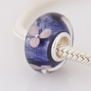 925 Glass Beads - Dichroic Bubble Flower - Purple & Pink