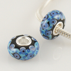 925 Glass Beads - Black, Blue & Sky Blue