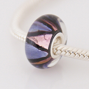 925 Glass Beads - Dichroic - Purple, Black & Pink